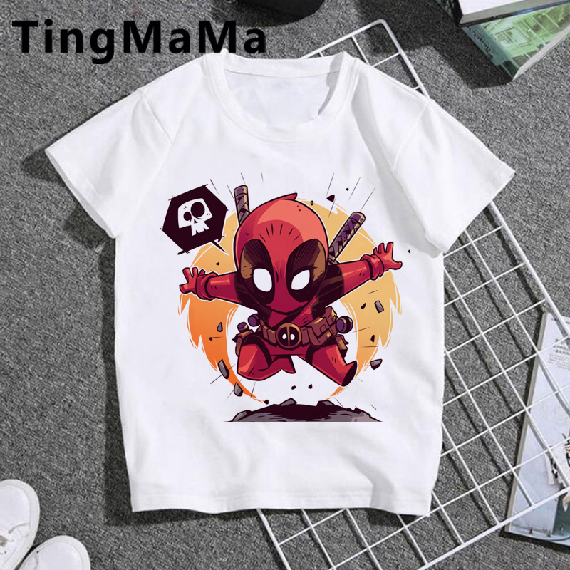 Kawaii Deadpool T Shirt Kids Funny Summer Tops Cartoon T-shirt Unisex Cute Graphic Tshirt Boys/girls Casual Children Clothes image