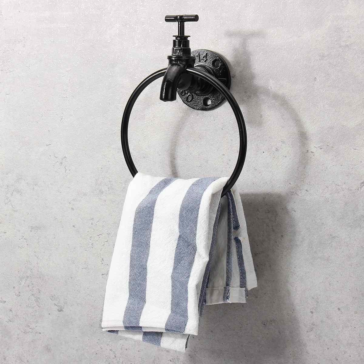 Industrial Wall Mounted Towel Ring Holder Retro Kitchen Bathroom Storage Rack Organizer Hanger Shelf Towel Holder Hardware Tools