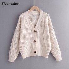 Женский вязаный свитер Efvandoloe, осенний кардиган, зимняя одежда, кардиган, осень 2020