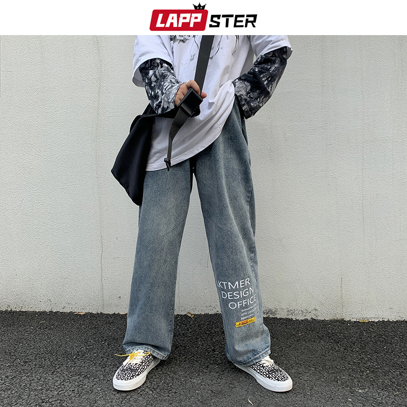 LAPPSTER Men Japanese Streetwaer Blue Jeans 2020 Mens Korean Fashions Harem Denim Pants Male Vintage Letter Clothes Regular Fit