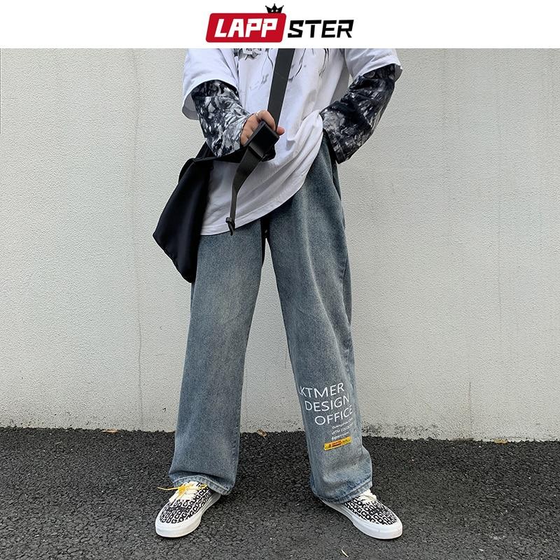 LAPPSTER Men Japanese Streetwaer Blue Jeans 2020 Mens Korean Fashions Harem Denim Pants Male Vintage Letter Clothes Regular Fit