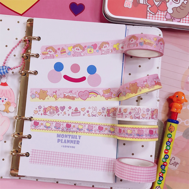 Kawaii Korean INS Lovely Pink Girl Cake Grid Masking Washi Tape DIY Scrapbooking Diary Decoration Stationery Adhesive Tape