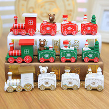 Christmas Decoration for Home 4 Knots Christmas Train Painted Wooden with Santa Kids Toys Ornament Navidad 2021 New Year Gift,Q