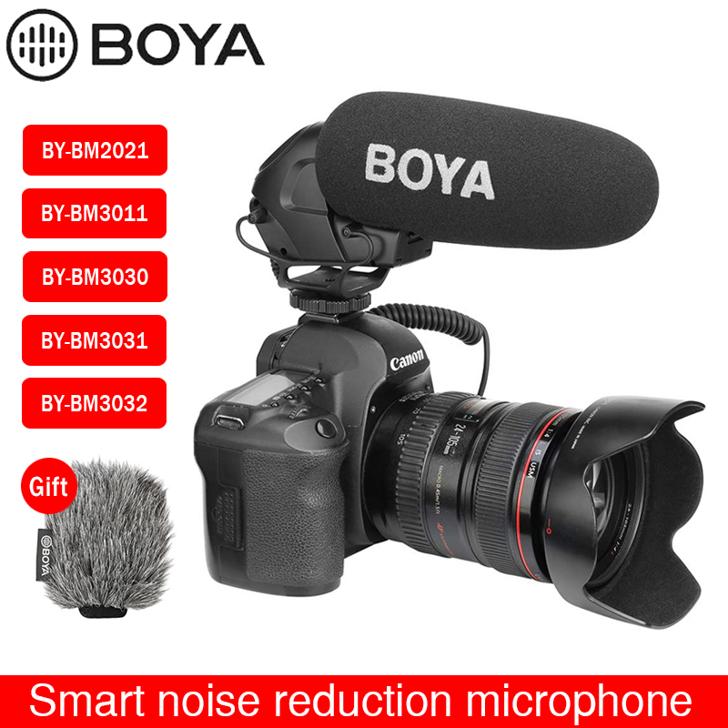 Micrófono de Radio BOYA BY-3030/3031 micrófono de condensador supercardioide para entrevista con micrófono de vídeo capacitivo para cámaras DSLR