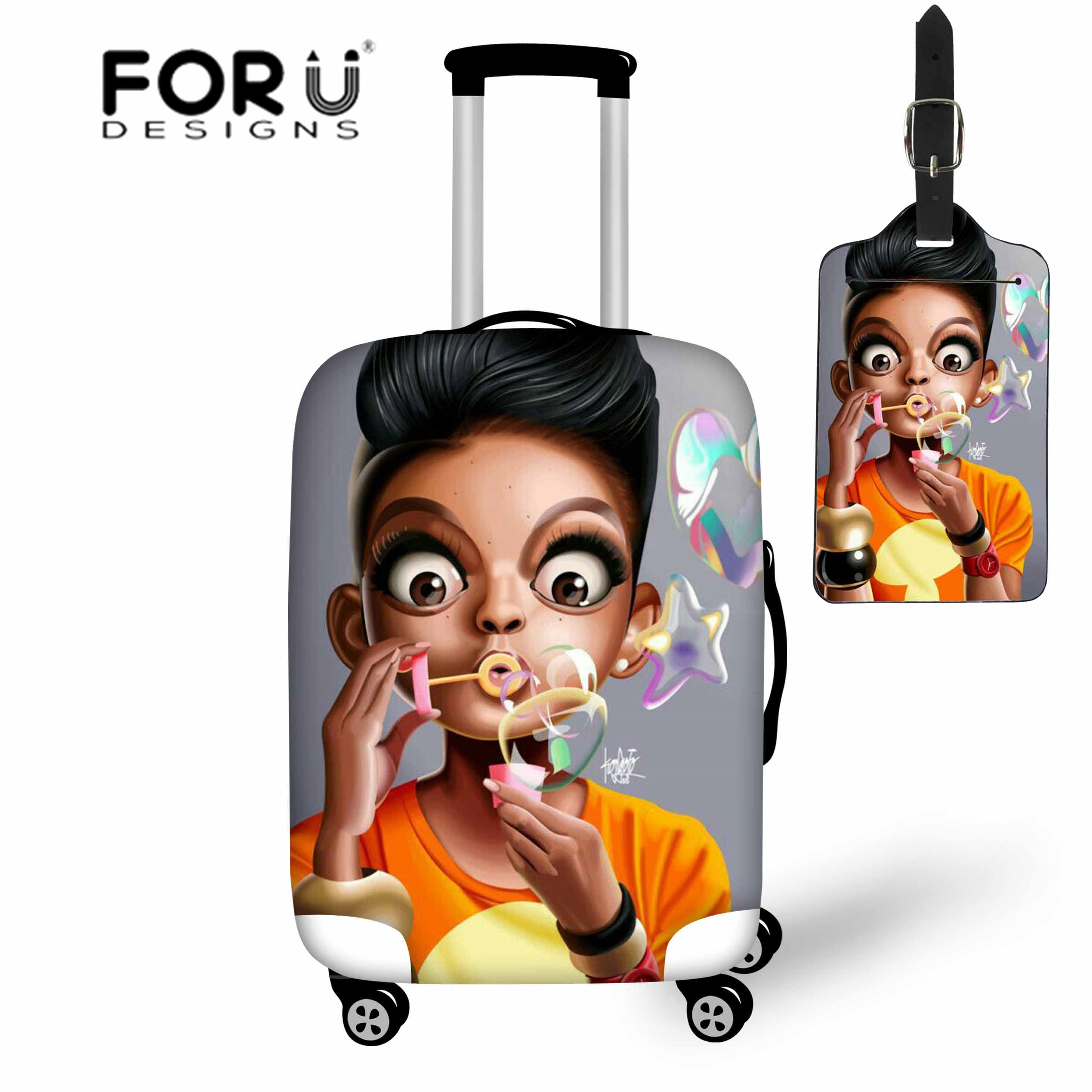 FORUDESIGNS Suitcase Protective Case Black Art African Girls Travel Luggage Cover Accessories Stretch Trolley Covers 18-30 Inch