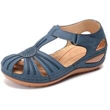 Sandalias Vintage De cuero De verano para Mujer, Zapatos informales con hebilla para costura para Mujer, Sandalias Retro con plataforma para Mujer