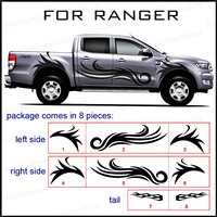 Car exterior full body rear tail side door graphic vinyl car stickers fit for Ford ranger 2012 2017