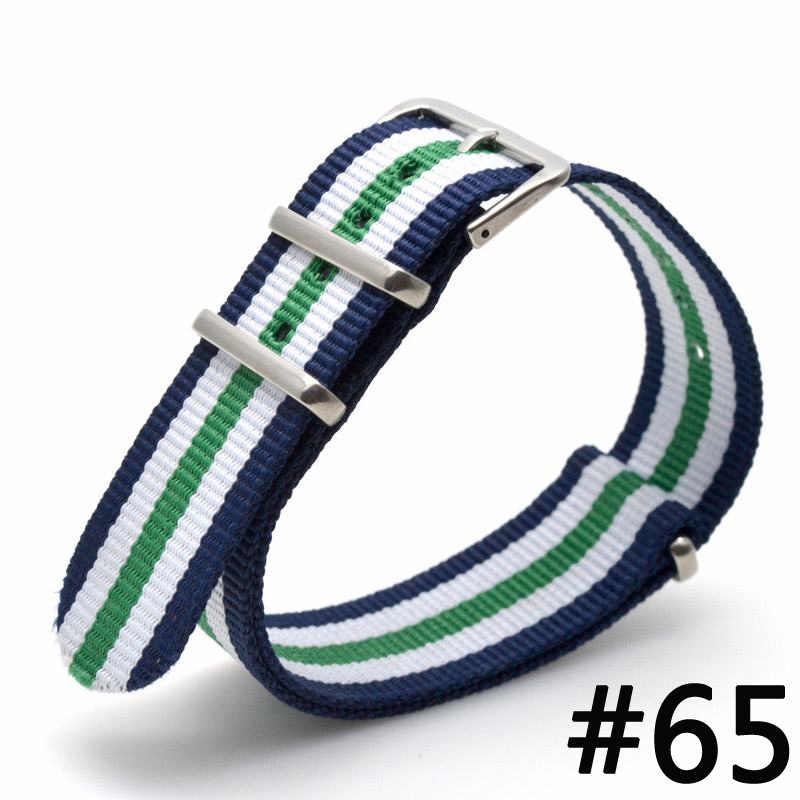 1 piezas 18 mm marca ejército deporte nato tela correa de nailon accesorios bandas cinturón de hebilla para reloj 007 James bond pulsera colorida