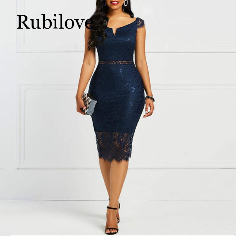 Rubilove Bodycon Women <font><b>Dress</b></font> <font><b>Lace</b></font> Slash Neck <font><b>Hollow</b></font> <font><b>Backless</b></font> <font><b>Sexy</b></font> Elegant OL Party Summer Patchwork Sheath Retro <font><b>Dresses</b></font> image