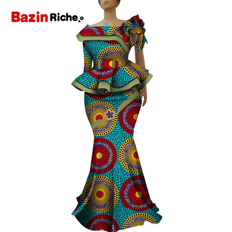 Africano Ankara Stampa Insieme del Pannello Esterno Unici Fatti A Mano Mermaid Gonna e Top Set di Abbigliamento Vestito Da Ospiti di Nozze Pannello Esterno Più Il Formato WY5236