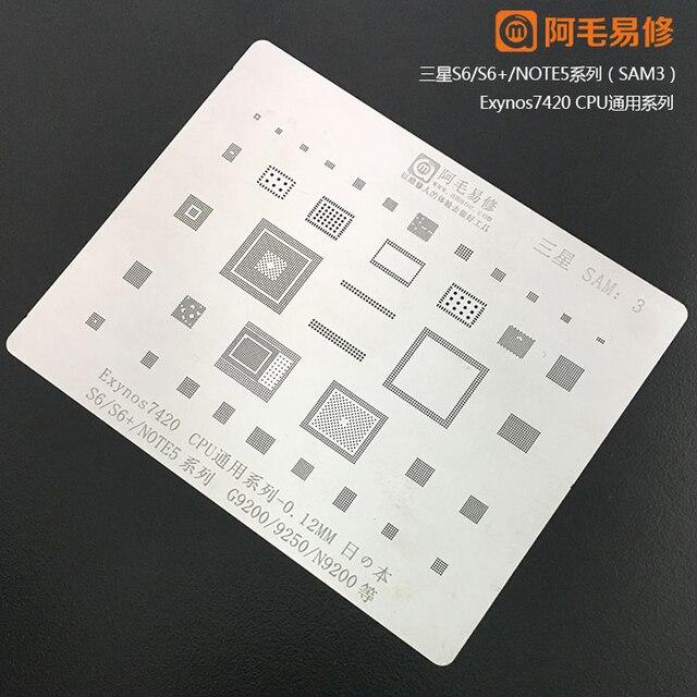 Amaoe BGA reballing stencil For  SAMSUNG S6 S6+ Note5 G9200 G9250 N9200 Exynos 7420 CPU RAM WIFI POWER Chip Tin Plant Net 1