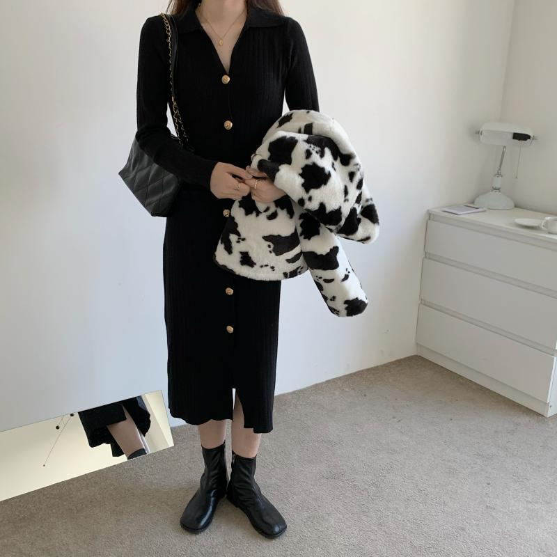 Hed95406356fd481193648b8b14b3b2fdL - Autumn Turn-Down Collar Soft Slim Solid Long Sweater Dress