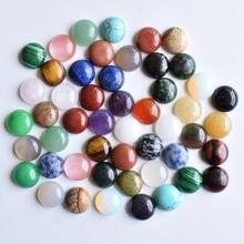 CABOCHON de cabine rond mixte, perles en pierre naturelle pour accessoires de bijouterie 12mm, vente en gros, 50 pièces/lot, 2020