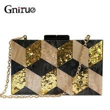 Nieuwe Vrouwelijke Zwarte Parelmoer Acryl Avondtassen Vintage Vrouwen Messenger Bags Gold Pailletten Koppelingen Patchwork Party Handtassen