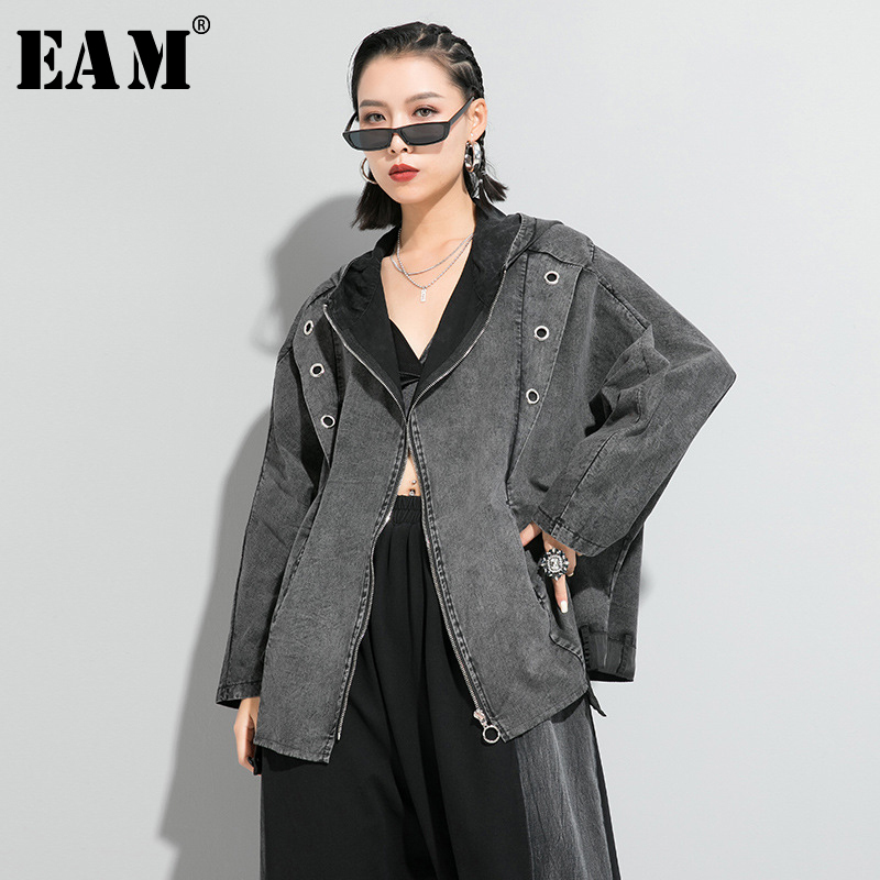 [EAM] Loose Fit Black Denim Split Joint Big Size Jacket New Hooded Long Sleeve Women Coat Fashion Tide Spring 2020 1R641