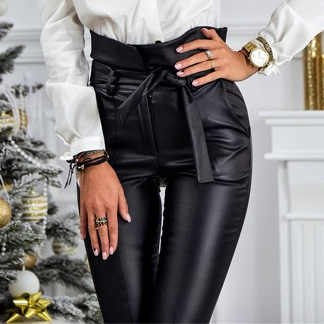 InstaHot Gold Black Belt High Waist Pencil Pant Women Faux Leather PU Sashes Long Trousers Casual Sexy Exclusive Design Fashion 3