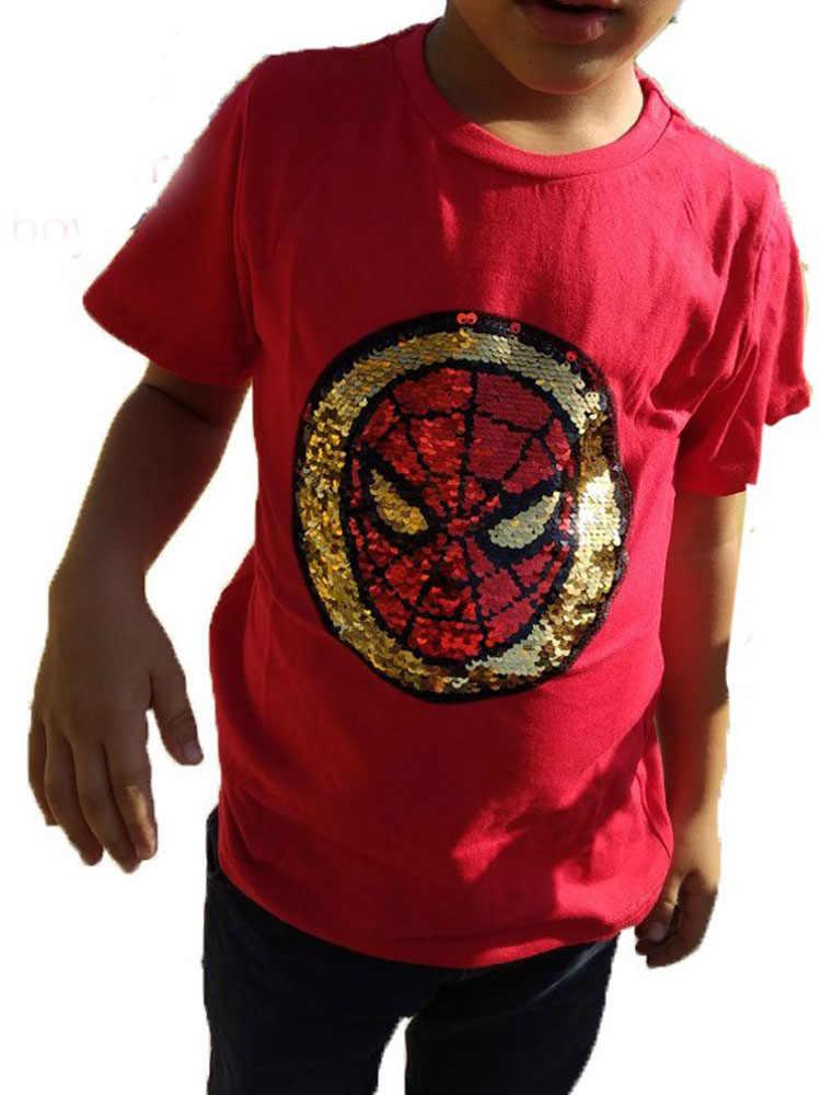 שינוי צבע ולהג ספיידרמן להחלפה פאייטים בני ילד חולצות אופנה מארוול גיבור T חולצה ילדי בגדים העליונים קיץ