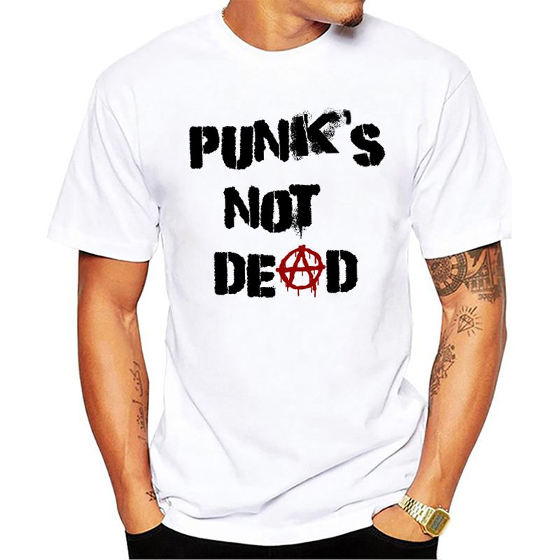 Punk Anarchy T Shirt Men Punks Not Dead Print Short Sleeve White Tees Men Street Style Sketch Rock Tops