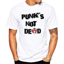 Punk Anarchy T Shirt Men Punks not Dead Print Short Sleeve W