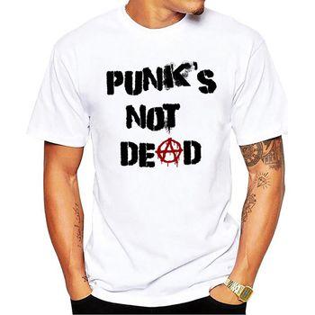 Punk Anarchy T Shirt Men Punks not Dead Print Short Sleeve White Tees Men Street Style Sketch Rock Tops
