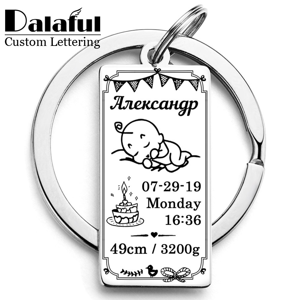 Gift Keychain Customized New Born Baby Souvenir Name Date Of Birth Weight Height New Dad &Mom Gift Personalized Keyring P022
