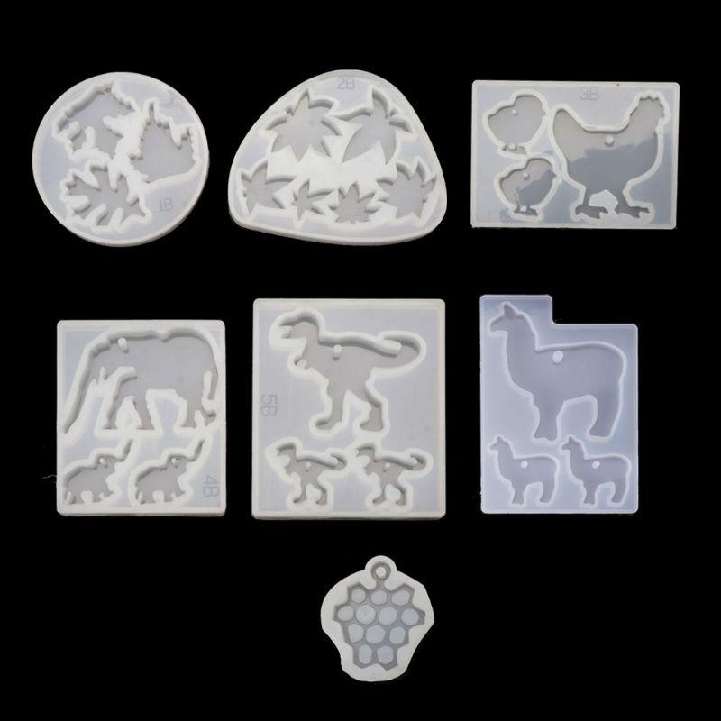 Cute Animals Pendant Mold Dinosaur Alpaca Grape Epoxy Resin Jewerly Making Tools