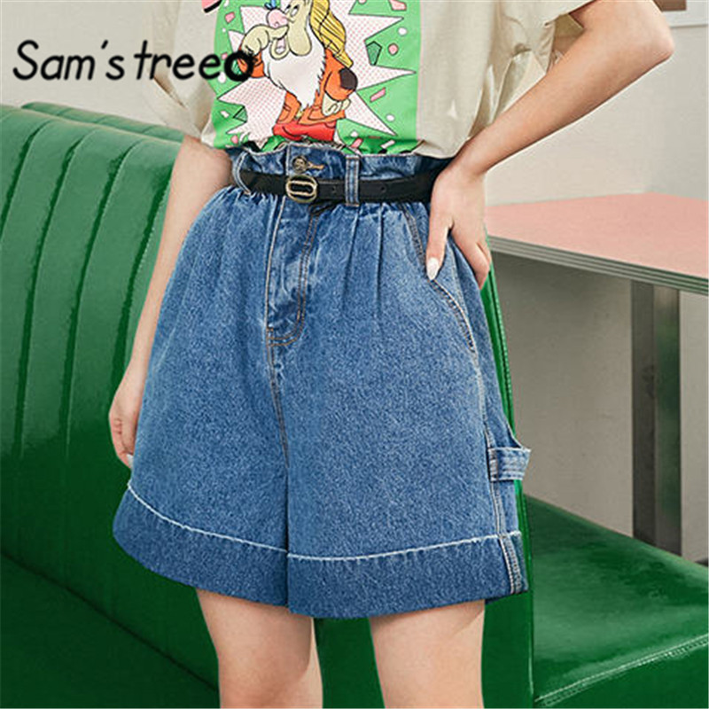 SAM'S TREE Blue Solid High Waist Washed Casual Denim Bermuda Shorts Women 2020 Summer Pure Wide Leg Straight Ladies Daily Bottom