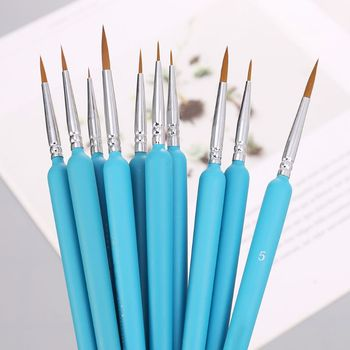 10Pcs/set Wolf Hair Hook Line Pen Fine Paint Brush Pen Set Artist Watercolor Acrylic Painting Brush Art Drawing Supplies