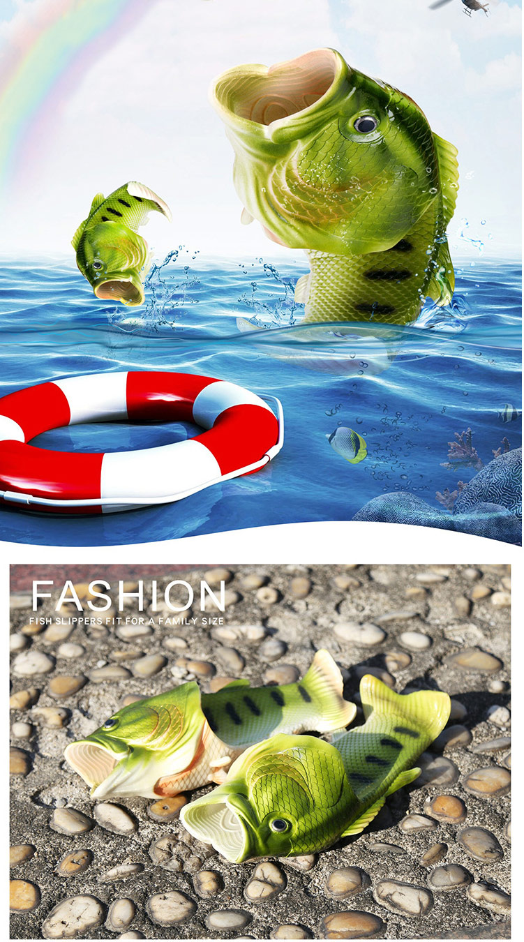 Hed95a6658b8b4cdd8d9ce31018ffc882D Family Funny Fish Slippers