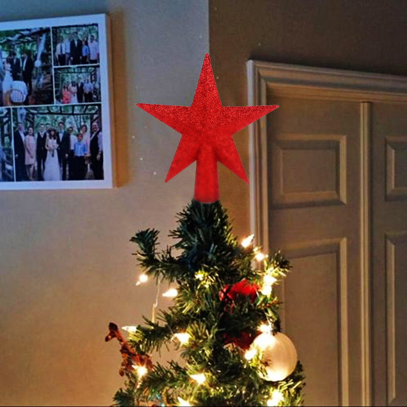 1P Christmas tree Top decoration Sparkle stars Christmas-tree Head orngments  facade decor for home NewYear 2020 Natal