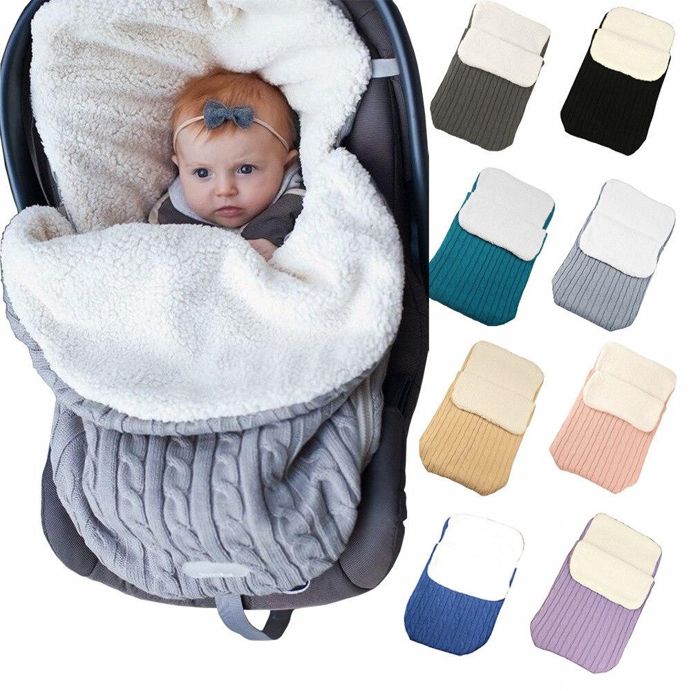 Image 3 - Baby Sleeping Bags Envelope Winter Warm Footmuff Toddler Blanket Wool Sleepsack Button Knit Swaddle Wrap Swaddling Stroller Wrap-in Blanket Sleepers from Mother & Kids