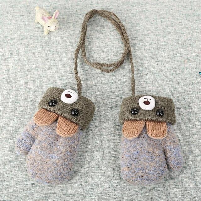Cartoon Bear Lovely Baby Newborn Knitting Mittens Thick Plus Velvet Kids Gloves