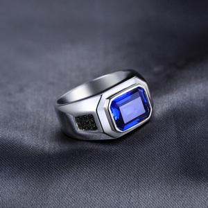 Image 2 - JewPalace 4.3ct Black Spinel Created Sapphire Ring 925 Sterling Silver Rings for Men Wedding Rings Silver 925 Gemstones Jewelry