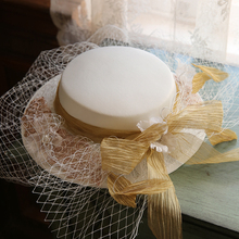 Big Ribbon Bow Veil Wedding Hat For Women French Fairy Lace