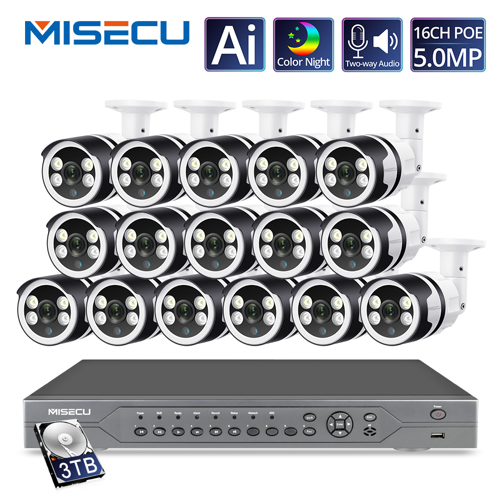 MISECU H.265+ 16CH 4K POE NVR Kit 5MP CCTV System 5MP Ai Camera Two-way Audio Outdoor Security IP Camera Video Surveillance Set