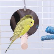 Птичье игрушечное зеркало в виде попугая качели деревянная подставка попугай окунь игрушка птичья клетка подвесные аксессуары для домашних животных жердочка для птицы