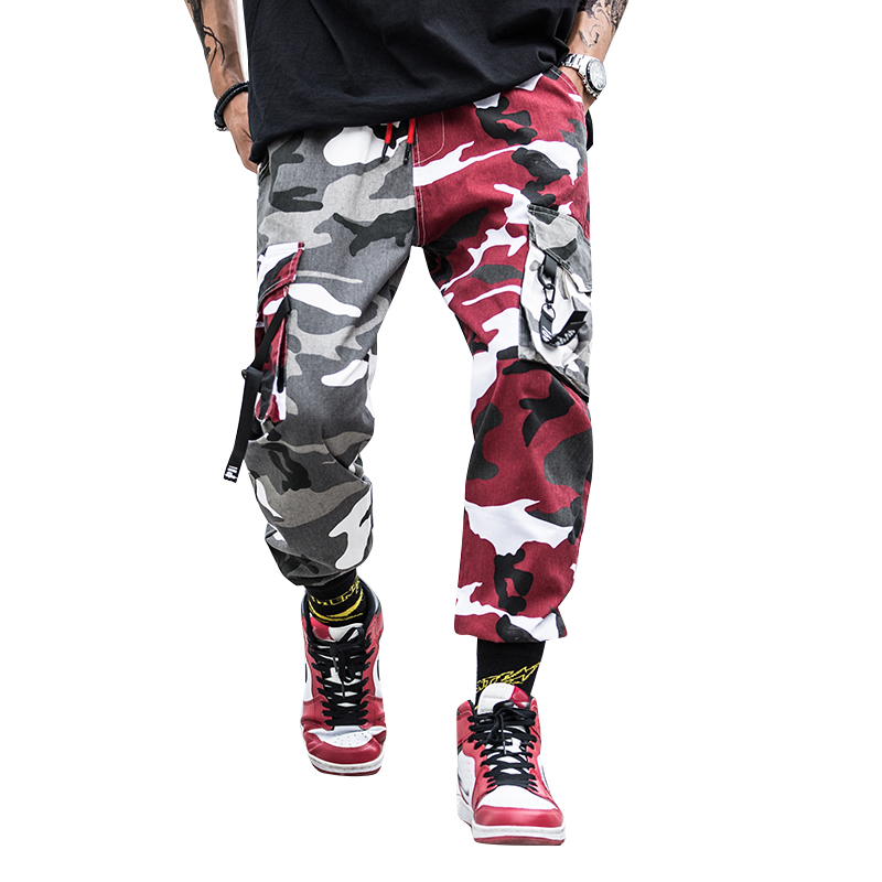 Camo Streetwear joggers Men Pant Camouflage Splice Cargo Pant Hip Hop Men's Joggers Trousers Military Overalls Male