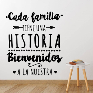 Spanish Version Family Vinyl Wall Decal Every Family Has A History Quote Wall Sticker Home Party Decoration Poster Decals RU173