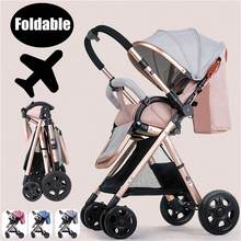 Four Wheels Folding Baby Trolley High-view Baby Strolley Multi-functional Pam Kids Stroller Carriage Pushchair For Newborns