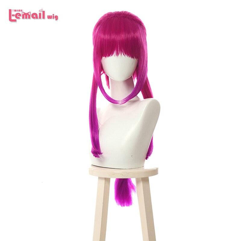 L-email Wig LoL Elderwood Ahri Cosplay Wigs Long Braid Mixed Hot Pink Gradient Wig Heat Resistant Synthetic Hair Perucas
