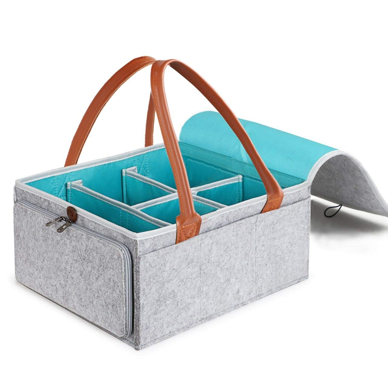 Diaper Caddy Organizer Baby Nursery Storage Basket with Zipper Lid and Leather Handle Baby Changing Bag