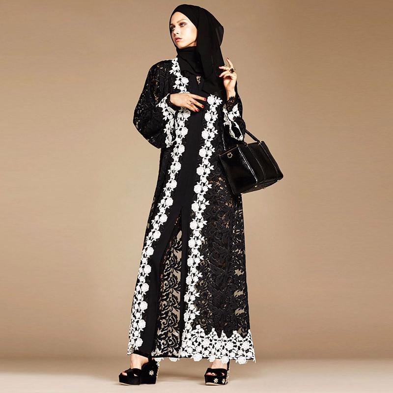 Abaya Morocco Black Lace Stitching White Cardigan Robe Muslim Dubai Islamic Turkish Women's Robe Arabia Dubai Prayer Thin Dress