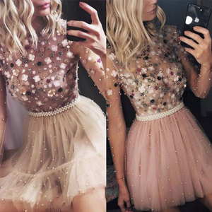 Image 3 - O Neck Blush Pink Party Prom Gown Beading Tulle Full Sleeves A line Short Evening Dress Appliques Floral Party Crystals OL103452