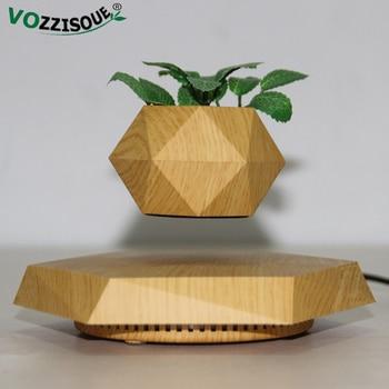 Hot Sale Floating Flower Pot Levitating Air Plant Holder Bonsai Pot with Light Rotation Magnetic Levitation Potted Desk Decor