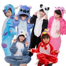 Flannel Children Pajamas For Boys Girls Animal Stitch Unicorn Panda Pajamas Set Hooded Costume Cosplay Kids Sleepwear Onesies недорого