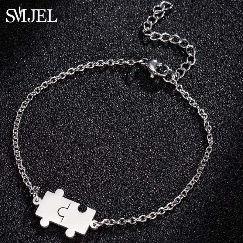 SMJEL geometryczne bransoletki ze stali nierdzewnej męskie kobiety pary Puzzle bransoletki i Bangles najlepszy przyjaciel BFF biżuteria Collares