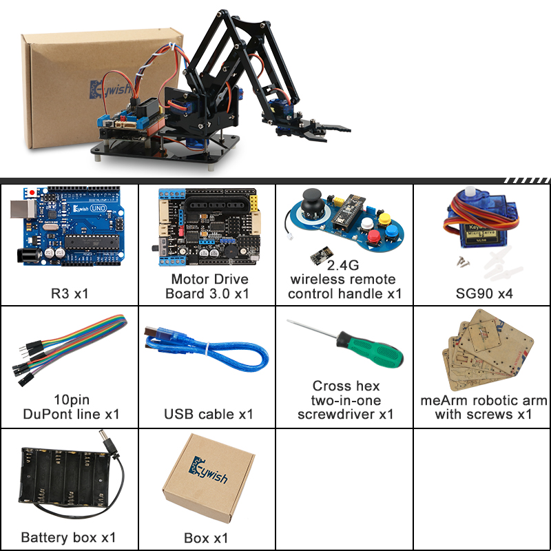 Top SaleRobot-Arm-Kit Robotics-Claw-Set Mechanical-Arm Programming DIY Arduino Educational Scracth