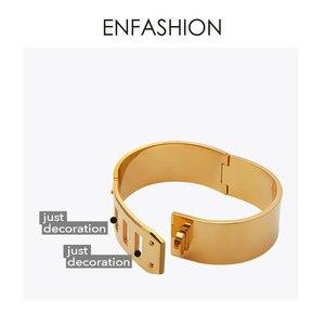 Image 5 - Enfashionジュエリーパンクベルト幅バックルカフブレスレットゴールドカラーのステンレス鋼の腕輪ブレスレット女性のブレスレットpulseiras