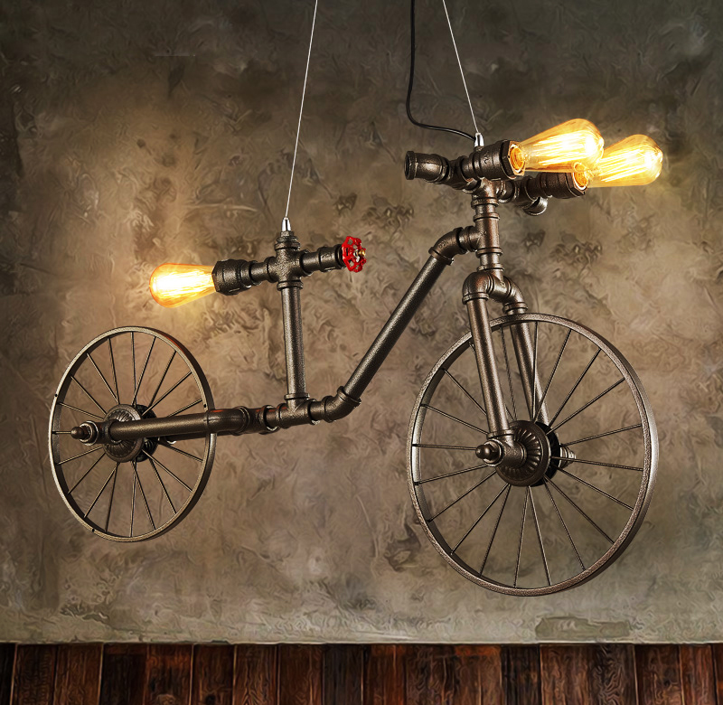 E27 Nordic Iron Retro Pendant Lamp Bedroom Restaurant Bar Cafe Clothing Store Industrial Wind Creative Bicycle Pendant Lights|Pendant Lights| |  - title=