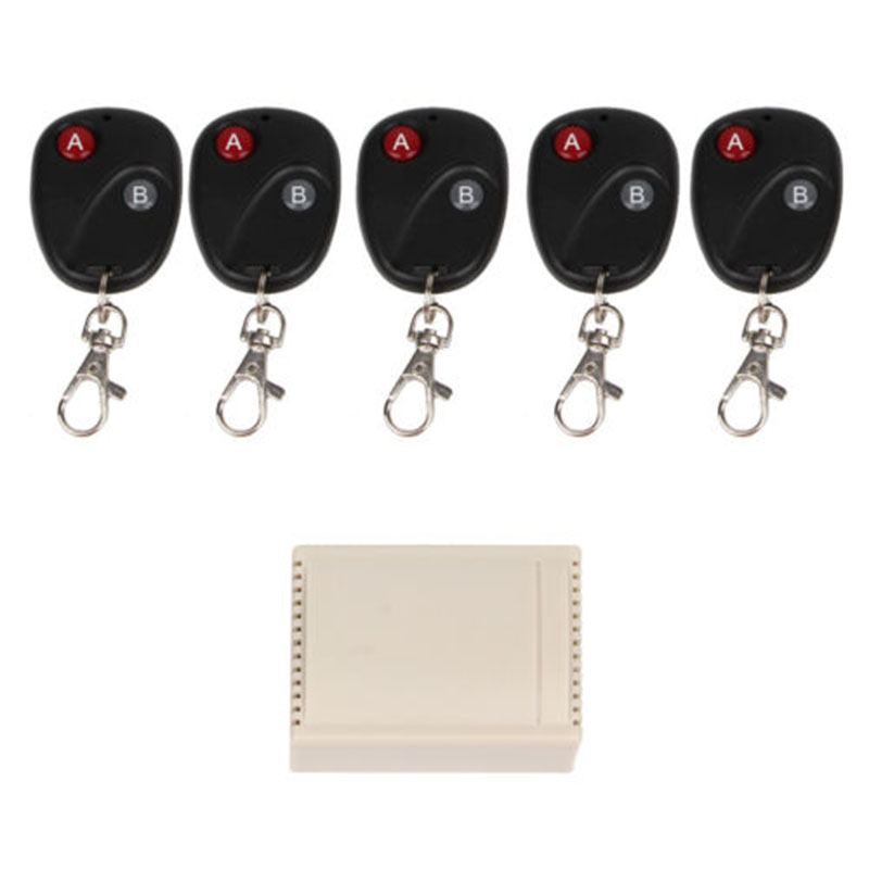 DC12V 2CH RF Wireless Remote Control Switch Receiver+5 Dual Button Transmitters